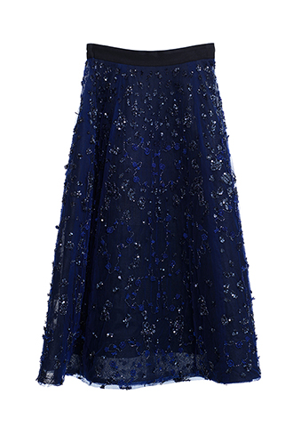 【Monique Lhuillier】EMBROIDERED A-LINE SKIRT