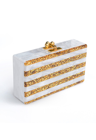 【Edie Parker】JEAN STRIPED ACRYLIC CLUTCH